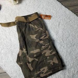 LEE Soldier Camouflage Belted Pocket Cargo Shorts